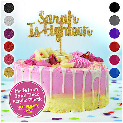 Personalizzata Happy 18th 21st 30th Compleanno Cake Topper-qualsiasi Nome è Qualsiasi Età-mostra Il Titolo Originale Vendita Calda 50-70% Di Sconto