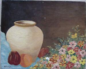 Nature-morte-1960-034-pichet-fleurs-et-fruits-034