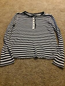 510a5212c Tommy Hilfiger Women s Black White Striped Ruffle Long Sleeve Top ...
