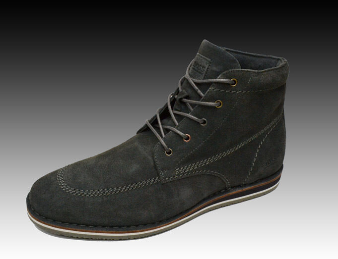 NEW HUGO BOSS Mens Dark Gray Laceup Leather Ankle Boots Shoes 10 43 NIB