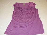 Womens Ladies Avon Chiffon Flower Top Purple Violet Shirt Blouse F3897531 New;;