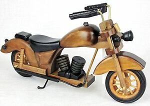 """Hand Crafted Wood Motorcycle Bike Chopper 12"""" x 5-3/4"""" Office Man Cave Decor"""