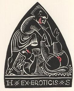 Max-KISLINGER-Ex-Eroticis-Exlibris-HS-Erotic-All-Tied-Up-Woodcut-Holz-X2