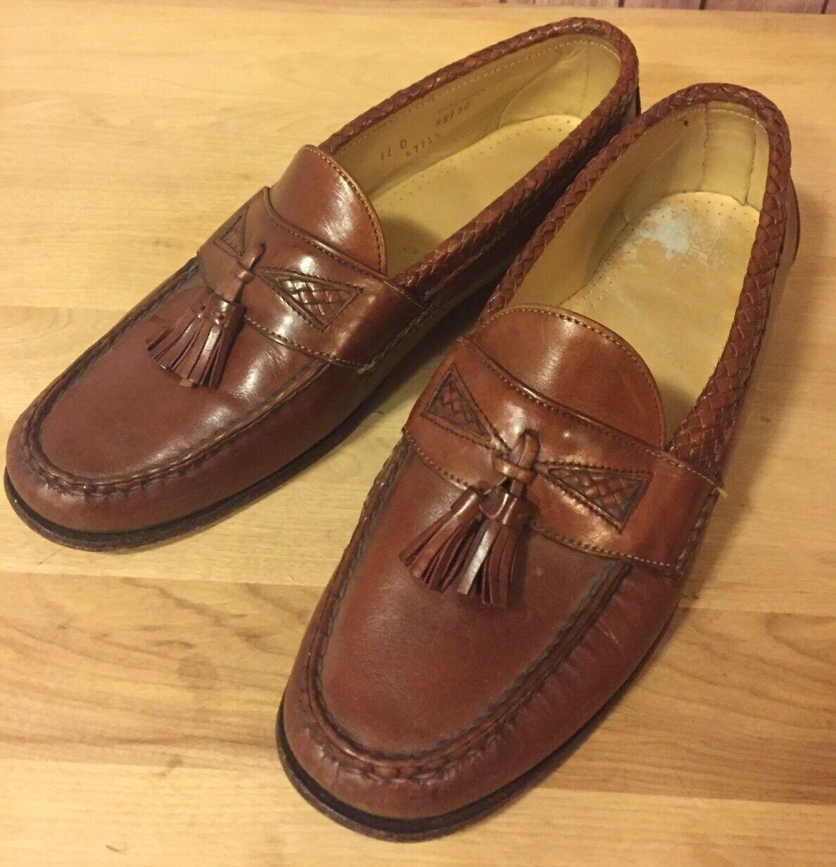Allen Edmonds 'Maxfield' Woven Tassel Loafers In Burgundy Brown Size 11 D