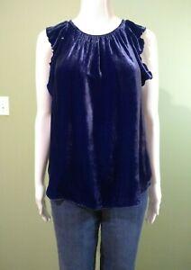 Gap-Women-039-s-Blue-Velvet-Ruffle-Top-Blouse-Size-Medium