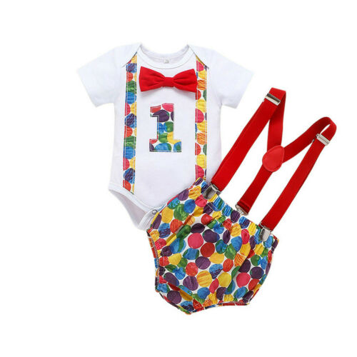 Toddler Infant Baby Boy Short Sleeve Bow Tie One-year-old Birthday Belt Pants