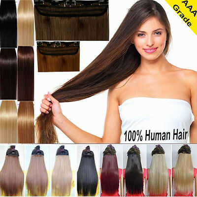 Silky 100% Real Human Hair Clip In Remy Human Hair Extensions One Piece US Q807