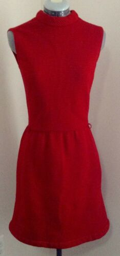 VTG Youth Guild red sleeveless mod 1960s wool text