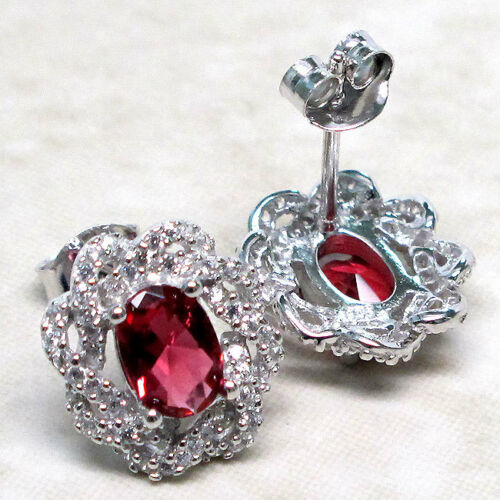 MAGNIFICIENT 2 CT RUBY 925 STERLING SILVER MICRO PAVE STUD EARRINGS