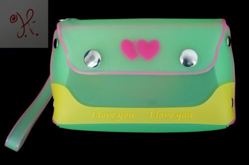 Purse Hearts Jelly New Yellow Frosted Girls Silicone Candy Green Wristlet Small FJcl3TKu1