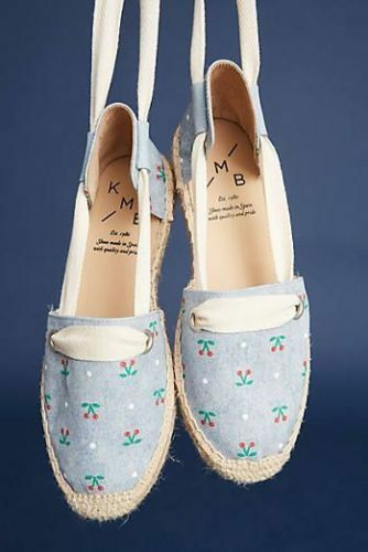 NIB Anthropologie KMB 9 Schuhes Ankle Tie Espadrilles Cherry Cotton Canvas Schuhes