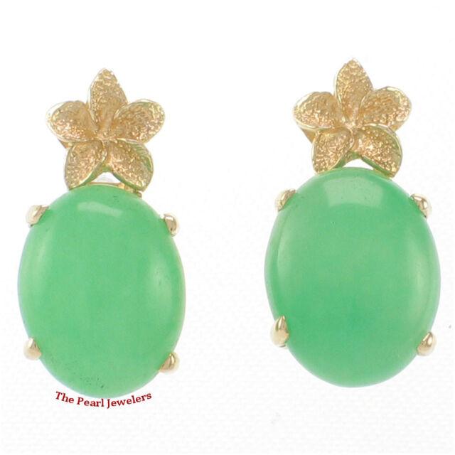14k Solid Yellow Gold Hawaiian Plumeria Cabochon Green Jade Stud Earrings Tpj