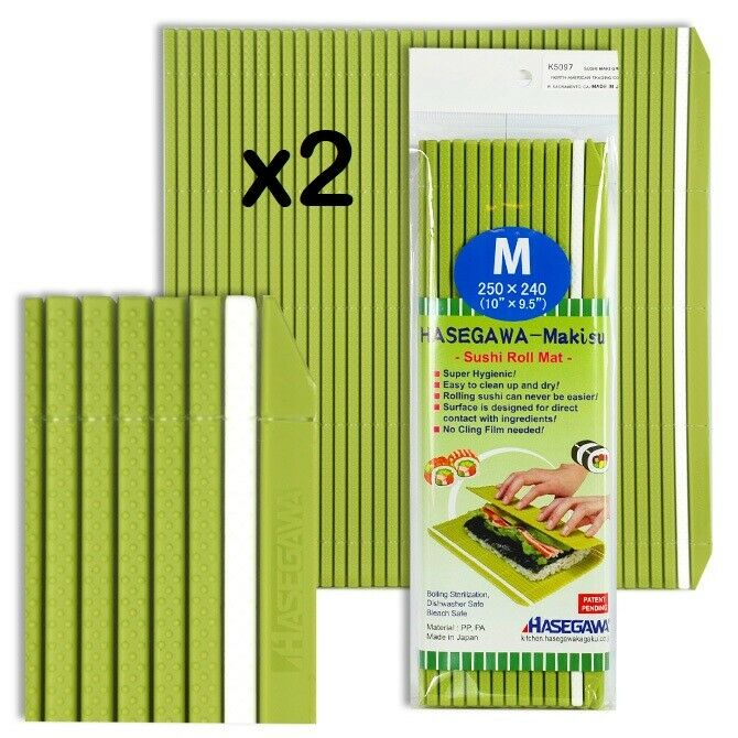 Set of 2 Japanese 10  x 9.5  Professional Plastic Sushi Roll Mat Made in Japan