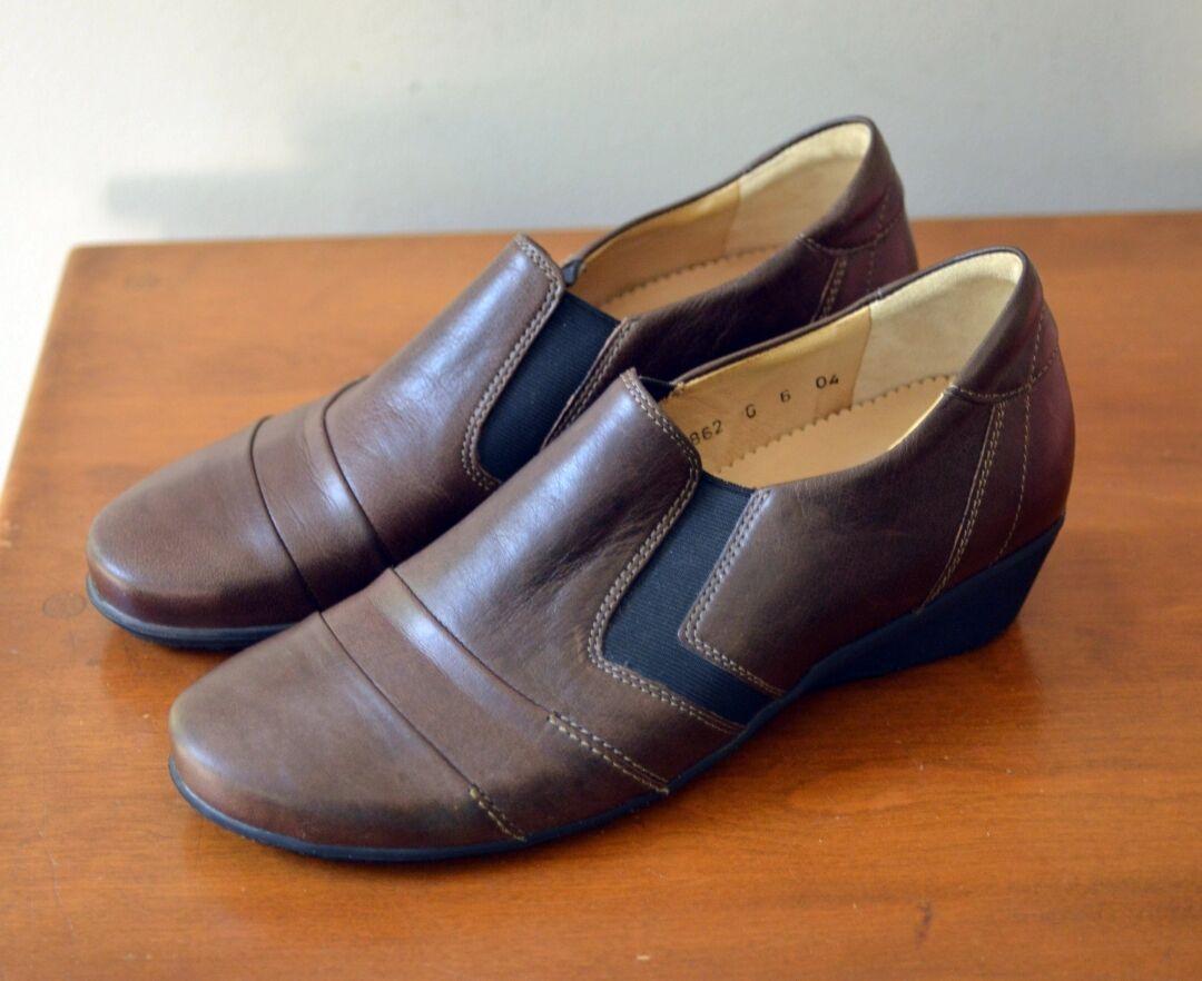 Hartjes Women's US 8   UK 6 Brown Leather Loafer Wedge Heels