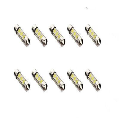 10X 36mm 3 SMD 5050 LED Blanc Pure Dôme Festoon Lampe Ampoule Intérieur Voiture