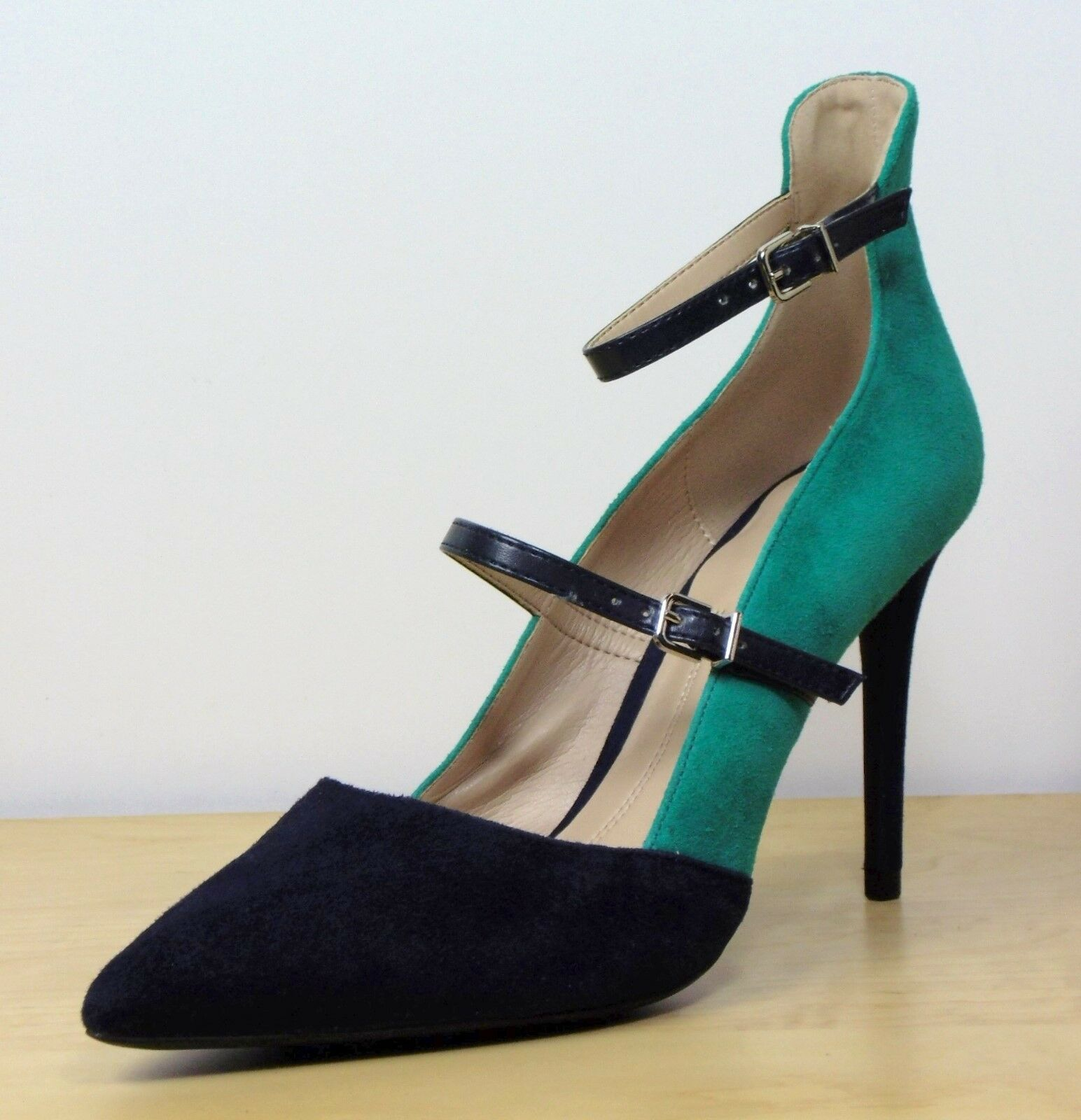 M&S Real SUEDE High STILETTO Ankle Strap COURT SHOES  Size 7  NAVY & GREEN