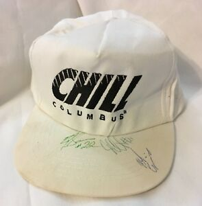 Vintage-DESTROYED-Columbus-Chill-White-Logo-Snapback-Hat-Cap-ECHL