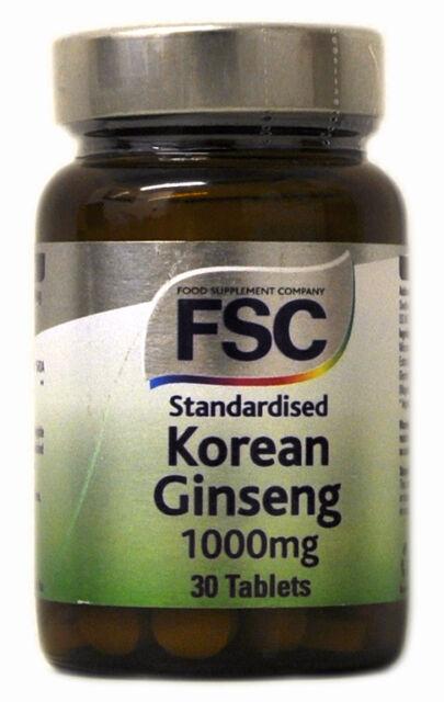 1 Botella De FSC 1000mg Estandarizada Ginseng Coreano 30 Comprimidos