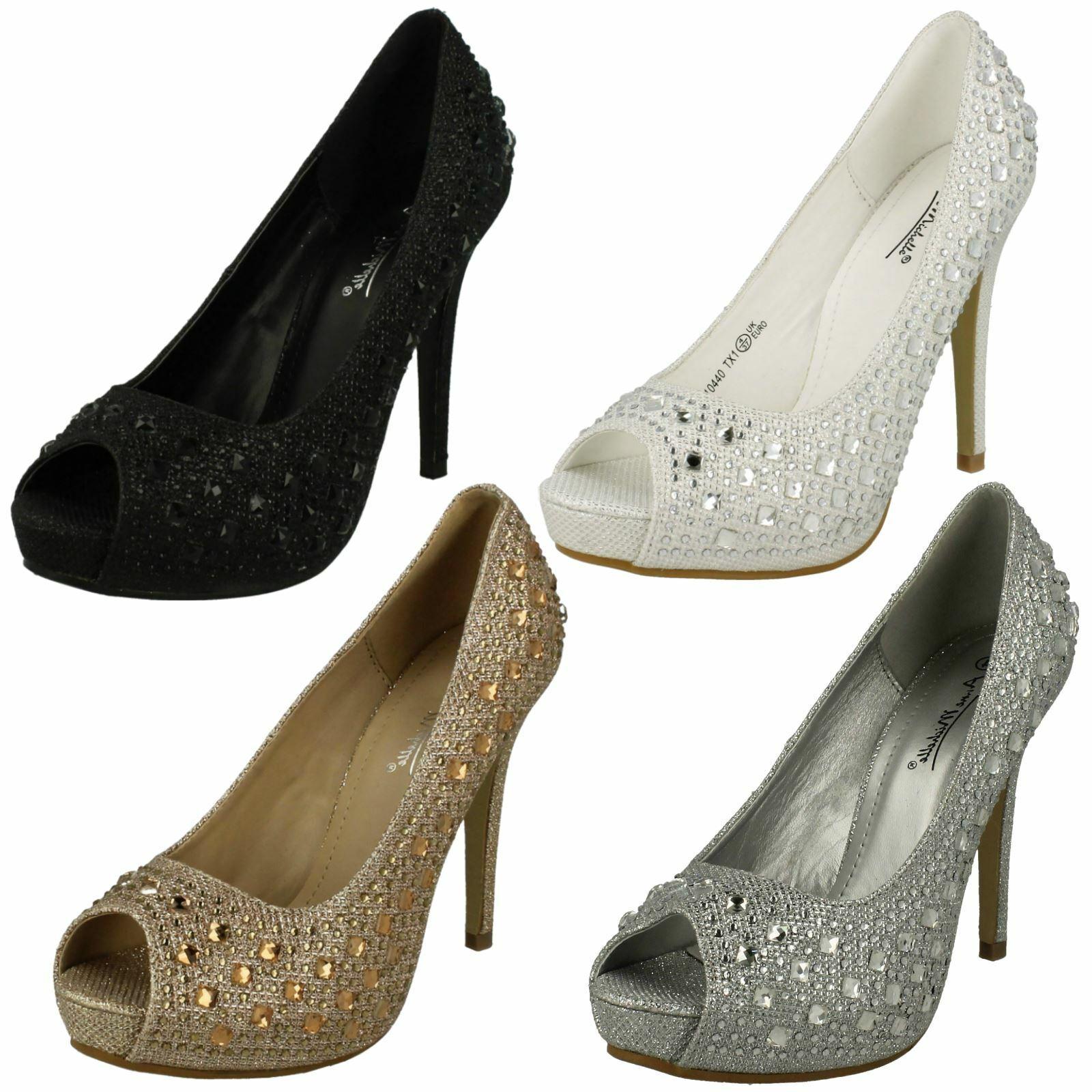 Ladies Anne Michelle Peep Toe Court Shoes With Gem Detail