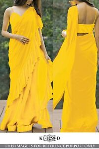 Audacieux Jaune Derniers Volants Saree Designer Volants Sari Indian Women Wedding Chemisier 3259-afficher Le Titre D'origine