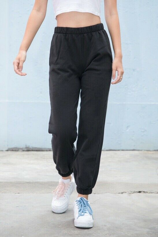 AgréAble Brandy Melville Taille Haute Coton Noir Traction Rosa Pantalon Survêtement Nwt S ExtrêMement Efficace Pour Conserver La Chaleur