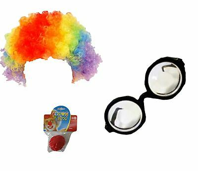 Da Uomo Clown Circo Joker Costume Accessorio Nerd Occhiali Clown Parrucca Clown Naso Set-mostra Il Titolo Originale