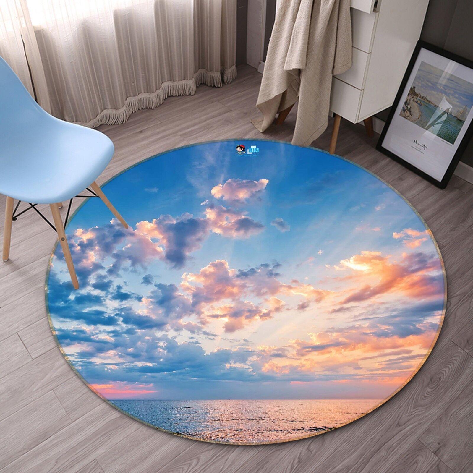 3D Sea Sunset Glows 16 Non Slip Rug Mat Room Mat Round Quality Elegant Carpet AU