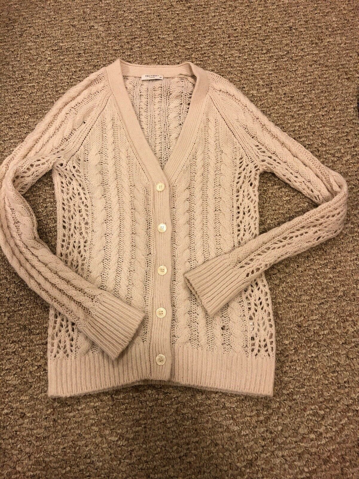 Equipment Femme Suzy Ivory White ButtonDown Cable Knit Wool Cashmere Cardigan S