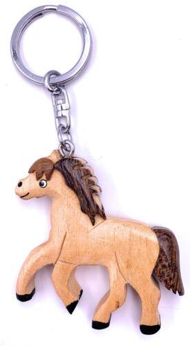 Pferd Hell trabend Holz Edel Handmade Schlüsselanhänger Anhänger