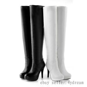 28f2a362149 Details about BLACK Sexy Womens Pu Leather High Boots High Heels Zipper  OVer the Knee Boots
