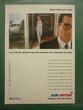 1993 PUB COMPAGNIE AERIENNE AIR INTER AIRLINE AIRBUS ORIGINAL FRENCH AD
