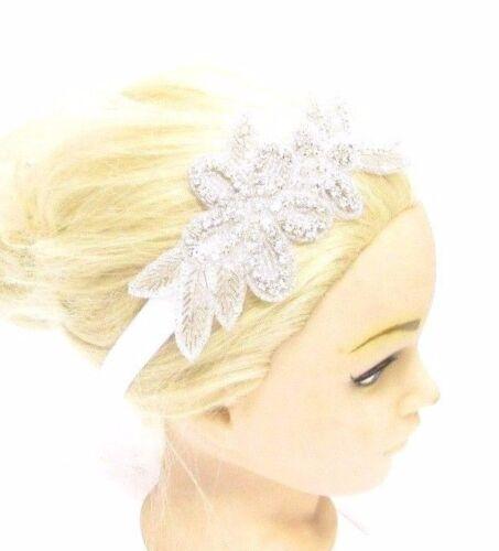 White Silver Diamante Flower Girls Baby Headband Bridesmaid Christening Vtg 2877