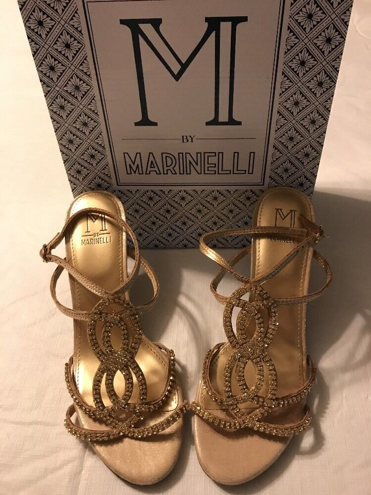 M By Marinelli Women's shoes Twinkle Platino Jeweled gold Heels Size 8 NWB  130