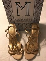 M By Marinelli Twinkle Platino Jeweled Women's Gold Heels Shoes Size 8 Nwb $130