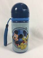 Mickey Mouse Canteen For Kids Blue Plastic W/ Pop Up Straw