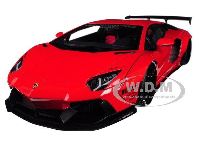 Lamborghini Aventador LB-funciona rosso Con Ruedas nero 1 18 AL MOLDE MODELO AUTOART 79108