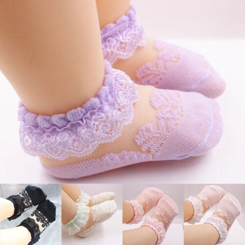 Cute Baby Girls Kids Socks Lace Breathable TUTU Socks Frilly Ankle Socks 0-5Y