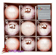 Christmas Tree Decoration - 60mm Pink Baubles - 9 Shatterproof Baubles