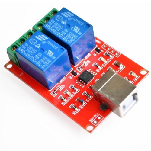 5V 2 Channel Relay Shield Control interface USB//2 Kanal USB Relais Modul New