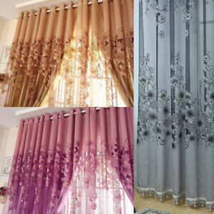 UK-Floral-Door-Window-Curtain-Room-Drape-Panel-Voile-Tulle-Sheer-Scarf-Valance