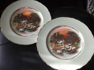2-X-VINTAGE-ROYAL-STAFFORDSHIRE-AJ-WILKINSON-GREEN-LUSTRE-PLATES-BOLD-SHEEP-10-034