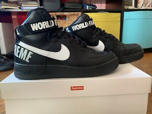 new concept 4f6d2 d3931 NIKE AIR FORCE 1 HIGH SUPREME SP World Famous Black SIZE 10.5 Box ...