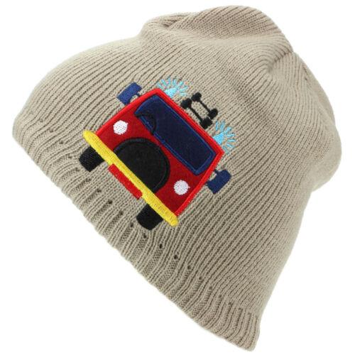 Fire Engine Hat Childrens Fine Knit Beanie Embroidered Fireman Sam Kids New