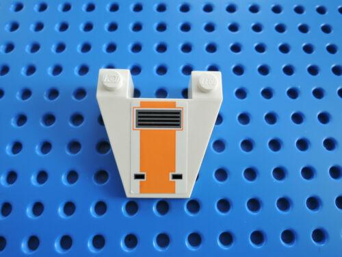 Lego 1 x Keilstein Cockpit 4858pb11 weiß 4x4 Sticker SW orange 8089