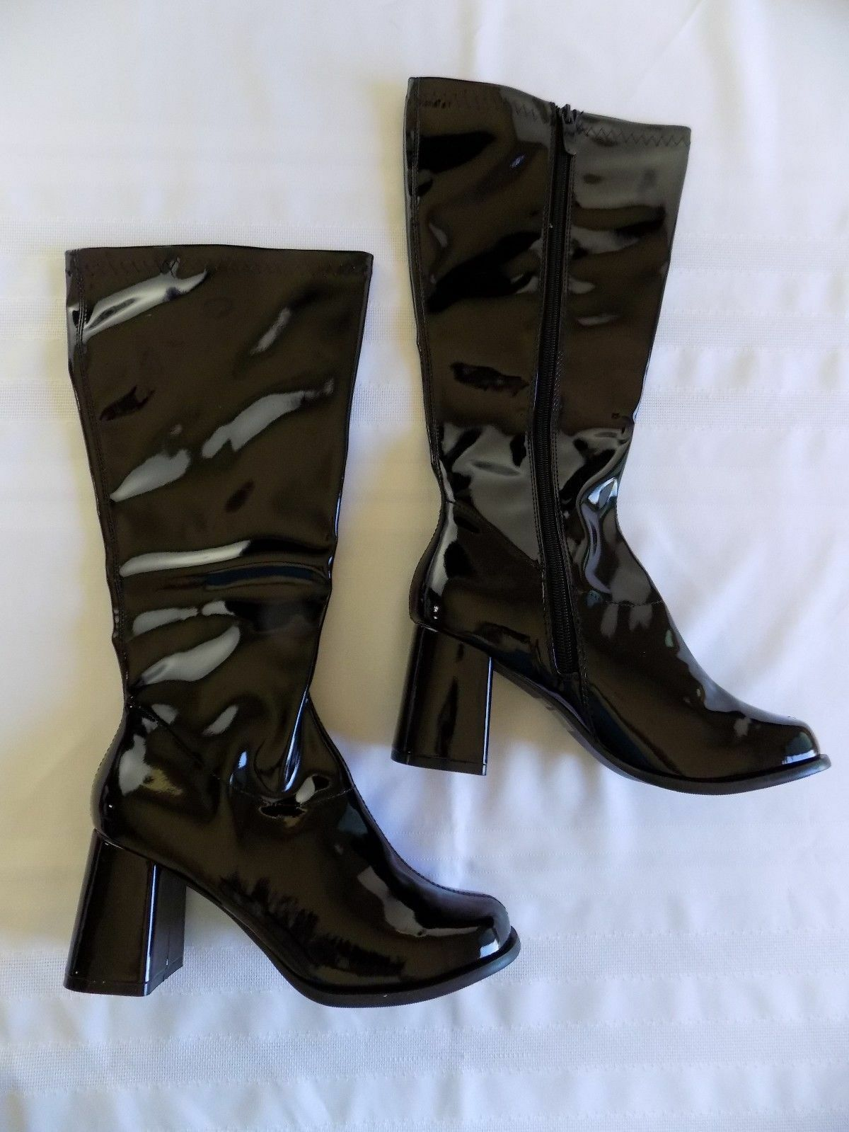 Black Patent Knee High High High Boots 3  Chunky Heel Inner Zipper Ellie shoes Gogo 8M e19f7c