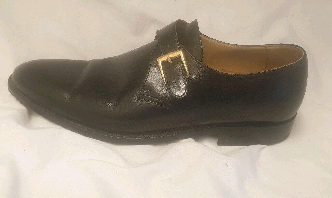 Zapatos De Cuero Finsbury Negro Hebilla De Monje - - Reino Unido 8-Excelente Estado -