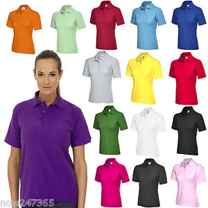 Senoras-camisa-Polo-Talla-Uk-6-26-mas-Classic-Fit-Premium-Pique-Deportivo-T-Shirt