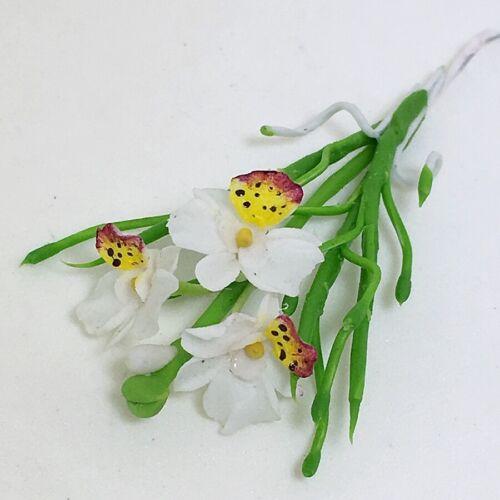 White Flower Vanda Orchid Miss Joaquim Miniature Dollhouse Handmade Clay Plant