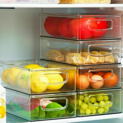 Refrigerator Organizer Bins Clear Plastic Pantry Food Storage Rack