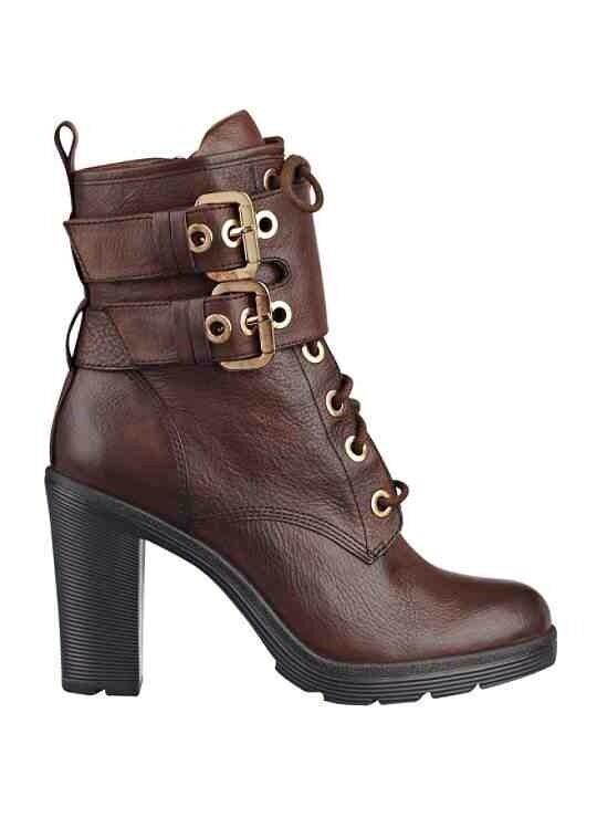 GUESS FINLAY LACE UP MID CALF BOOTIES BROWN LEATHER ROUNDED TOE WITH ZIP SZ 5.5